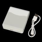 6000mAh Portable Power Source Bank w/ Lighting + Foldable Mirror - White + Light Grey