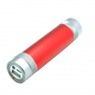 "JY-49 Universal ""3000mAh"" Portable Li-ion Battery Power Bank Tube w/ LED Light / SOS - Red + Grey"
