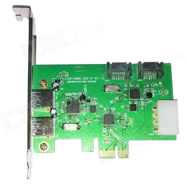 WBTUO Desktop PCI-E 2-Port USB 3.0 + 2-Port SATA 3.0 Expansion Card - GreenForm  ColorGreen + Black + Multi-ColoredBrandWBTUOModelLT301Quantity1 DX.PCM.Model.AttributeModel.UnitMaterialFiber + copperSupports SystemWin xp,Win 2000,Win 2008,Win vista,Win7 32,Win7 64,Win8 32,Win8 64,MAC OS X,IOS,Linux,Android 2.x,Android 4.xPacking List1 x Express Card1 x CD<br>