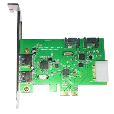 WBTUO Desktop PCI-E 2-Port USB 3.0 + 2-Port SATA 3.0 Expansion Card - Green