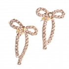 Fashionable Shining Diamond Bowknot Shape Ear Studs - Gold (Pair)
