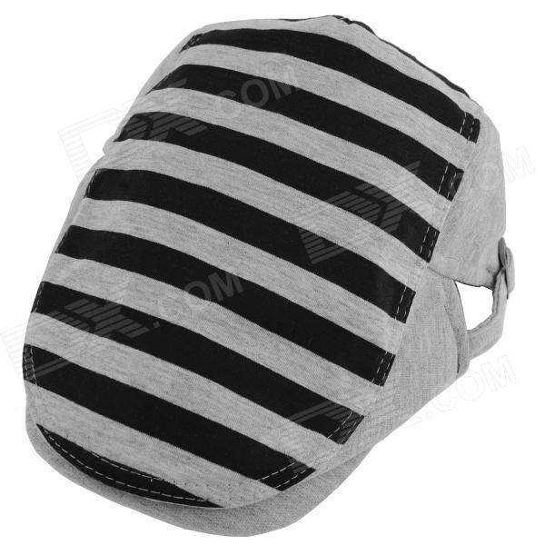 YUSHAN Fashion Stripe Cotton Beret Cap - Grey + Black