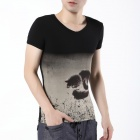 FENL W160-2 Men's Slim Fit Short Sleeve V-Neck Cotton T-shirt Tee - Black (Size-L)