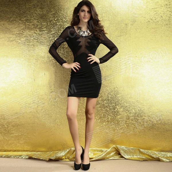LC2952 Sexy See-through Mesh Inserts V Shape Back Bodycon Dress ... 057a14a79