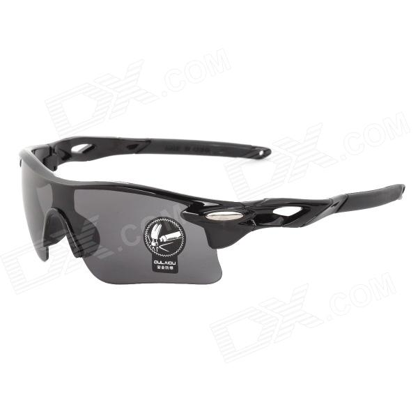 OULAIOU Sports UV400 Protection PC Lens Plastic Frame Sunglasses - Grey + Black for sale in Bitcoin, Litecoin, Ethereum, Bitcoin Cash with the best price and Free Shipping on Gipsybee.com