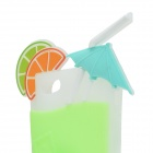 Summer Lemon Drink Cup Style 3D Protective Silicone Back Case for IPHONE 5 / 5S - Light Green