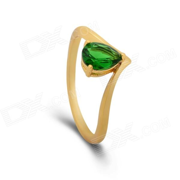 KCCHSTAR 24K Gold Plating Heart Style Crystal Finger Ring - Golden + Green (US Size 8)