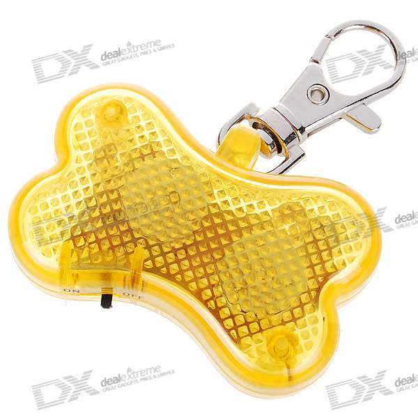 Cute Bone Flashing LED Pet Collar Pendant Light - Yellow (2*AG13)
