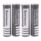 Lomon Rechargeable 3.7V 1800mAh 18650 Li-ion Battery with Protection Board - Black + White (4PCS)