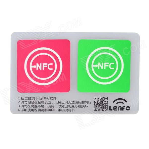 13.56MHz NFC Smart Tag Set for Xiaomi / Meizu MX3 / Nokia Lumia / Samsung S4 - Pink + GreenNFC/Smart Control<br>Form ColorPink + GreenBrandN/AModelN/AQuantity1 DX.PCM.Model.AttributeModel.UnitMaterialStickerChipsetNtag203English Manual / SpecYesShade Of ColorMulti-colorCompatible SystemAndroidTypeMobile ApplicationsControl TypeNFCFeaturesN/APower AdapterWithout Power AdapterPacking List2 x Tags<br>