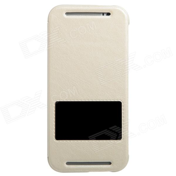 KALAIDENG Protective PU Leather Case Cover Stand w/ Visual Window for HTC One M8 - White
