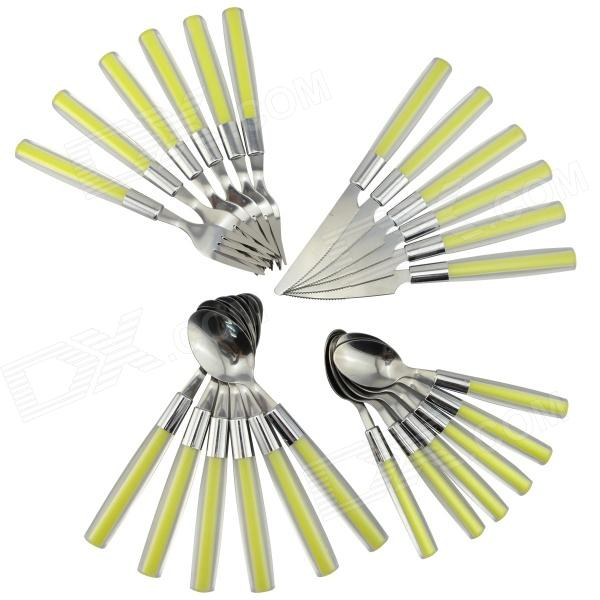 Stainless Steel Knife + Fork + Spoon Set - Fluorescent Green + Silver (24 PCS)Fork &amp; Spoon &amp; Chopsticks<br>Form  ColorFluorescent Green + GreyMaterialStainless steel + plasticQuantity1 DX.PCM.Model.AttributeModel.UnitDimensionKnife: 21.5cm; Fork: 20.5cm; Small spoon: 16.5cm; Large spoon: 20.2 DX.PCM.Model.AttributeModel.UnitStyleContemporaryPacking List6 x Forks6 x Knives6 x Large spoons6 x Small spoons<br>