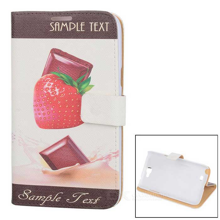 Kinston Strawberry Chocolate Pattern PU Leather Case Cover for Samsung Galaxy Note 2 N7100 - White