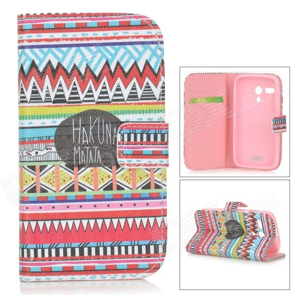 Unique Strip Pattern Protective PU Leather Case w/ Stand for Motorola Moto G / DVX - Multicolored
