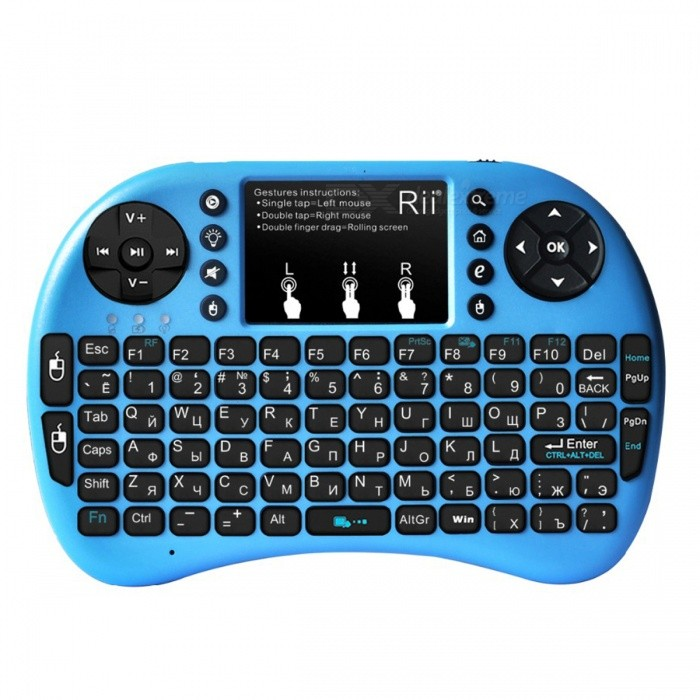 Rii RT-MWK08+ Mini USB 2.0 2.4GHz Wireless 92-Key Touch Keyboard w/ Air Mouse - BlueWireless Keyboards<br>Form ColorBlueBrandRiiModelRT-MWK08+Quantity1 DX.PCM.Model.AttributeModel.UnitMaterialPlasticTypeErgonomic,Air mouse &amp; KeyboardInterfaceUSB 2.0Wireless or Wired2.4G WirelessBluetooth VersionNoTracking MethodTouch PadBack-litYesOperation Distance10 DX.PCM.Model.AttributeModel.UnitPowered ByBuilt-in BatteryBattery included or notYesBattery Capacity450 DX.PCM.Model.AttributeModel.UnitWaterproofYesSupports SystemWin xp,Win 2000,Win vista,Win7 32,Win7 64,Win8 32,Win8 64,MAC OS X,IOS,Linux,Android 2.x,Android 4.xPacking List1 x Keyboard1 x USB receiver1 x Cable (80cm)1 x English user manual<br>