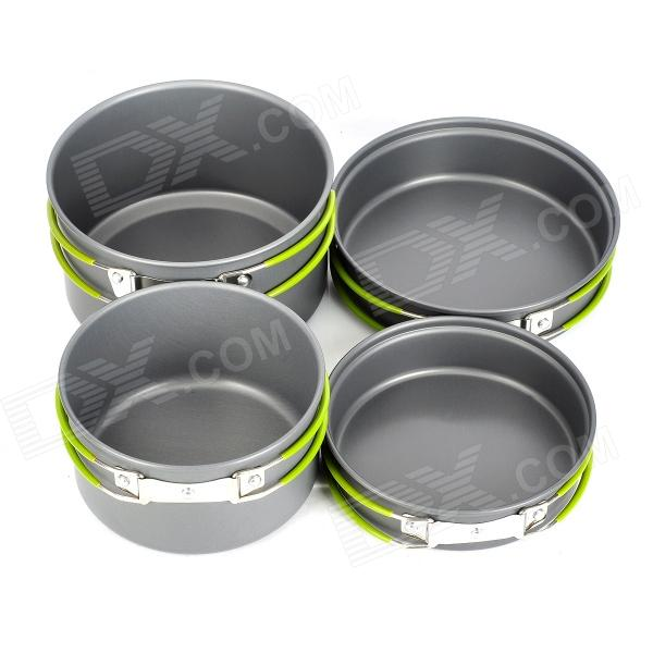 Multi-Function Outdoor Camping Portable Cooking Pan + Pot + Bowl Set for 2~3 Person - Grey