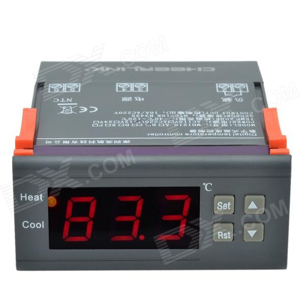 CHEERLINK MH1210B 1.7 Screen Intelligent Digital Temperature Controller w/ Alarm - Black + OrangeTemperature Instruments<br>Form  ColorBlack + OrangeBrandCHEERLINKModelMH1210BQuantity1 DX.PCM.Model.AttributeModel.UnitMaterialABS + electronic componentsScreen Size1.7 DX.PCM.Model.AttributeModel.UnitCelsius Range-40~+120CFahrenheit Range-40~+120 DX.PCM.Model.AttributeModel.UnitBacklightRedAuto Power OffNoPowered ByAC ChargerBattery NumberNoBattery included or notNoOther FeaturesWorking voltage: AC 220V;<br>Control out: 10A/ 220V;<br>Sensor: NTC=10K B3435;<br>Separation rate: 0.1?C;<br>Slewing range of temperature: it could be adjusted in the range of 1~30C;<br>Temperature of working environment: -20C~70C;<br>Humidity of working environment: 90RH, no moisture;<br>Memory function.Packing List1 x Digital temperature controller1 x Sensor (102cm-cable)1 x English user manual<br>