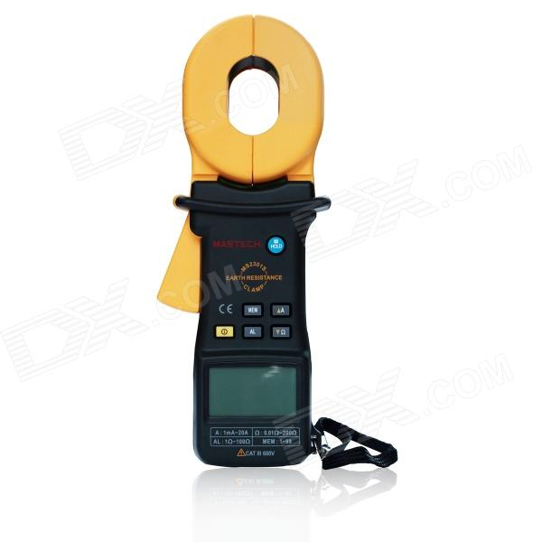 MASTECH MS2301S Multifunction Clip-on Grounding Resistance Tester / Detector - Black + YellowTesters &amp; Detectors<br>Form ColorBlack + YellowBrandMASTECHModelMS2301SQuantity1 DX.PCM.Model.AttributeModel.UnitMaterialFe + Cu + ABSScreen Size5.2 x 3.0 DX.PCM.Model.AttributeModel.UnitMax. Display9999DC VoltageNoAC VoltageNoDC CurrentNoAC Current100mA+/-(3.5% + 1mA); 300mA+/-(3.5% + 2mA); 1A+/-(3.5% + 0.003A); 3A+/-(3.5% + 0.01A); 10A+/-(3.5% + 0.03A); 20A+/-(3.5% + 0.05A)Resistance0.01~0.999+/-(1.5% + 0.01); 1~9.99+/-(1.5% + 0.3); 10~99.9+/-(3.0% + 0.3); 100~199.9+/-(5.0% + 3)Capacitance AccuracyNoFrequency AccuracyNoTransistor TestNoTemperature TestNoFrequency TestNoPower Consumption TestNoShort-Circuit ProtectionNoShort Curcuit BuzzNoAuto Power OffYesPowered ByOthers,9 V (6F22) batteryBattery Number1Battery included or notYesOther FeaturesJaw Opening: 45mm x 32mm / 1.8 x 1.3; Data Logging and Recall: 99 groups; Alarm Limit Setting: Setting alarm threshold in 1 to 100; LBD: Low Battery Display; With data keep;<br>Test Condition:Temp 23+/-3; Humidity: 50%RH+/-10%; Battery Voltage: &gt;7V; External Magnetic Field: CertificationCE, CAT.III300VPacking List1 x MS2301S1 x 5ohm resistance loop1 x 9V (6F22) battery1 x English user manual1 x Test report1 x Cleaning cloth1 x Packing case<br>