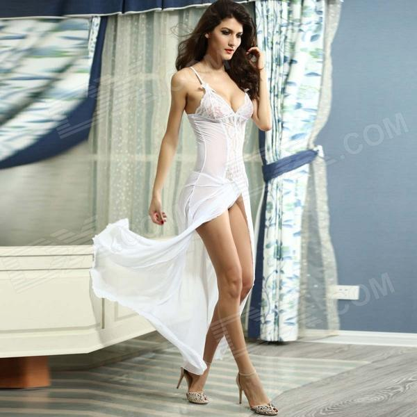 Polyester Bride to Be Deep-V Lace Sleepwear Gown - White - Free ...