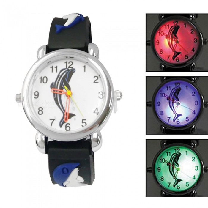 Kid's Glow-in-the-dark Analog Quartz Watch - Black + Blue (1*377)
