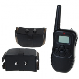 Electronic-ShockVibrating-Dog-Collars-with-300M-RF-Wireless-LCD-Remote-(for-Two-Dogs)