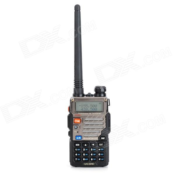 Baofeng UV-5RE 5W dual band 128-CH walkie-talkie w / bacino di carico-nero