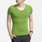FENL A520 Men's Slim Fit Round Neck Short Sleeve Modal T-Shirt Tee - Grass green (Size XL)