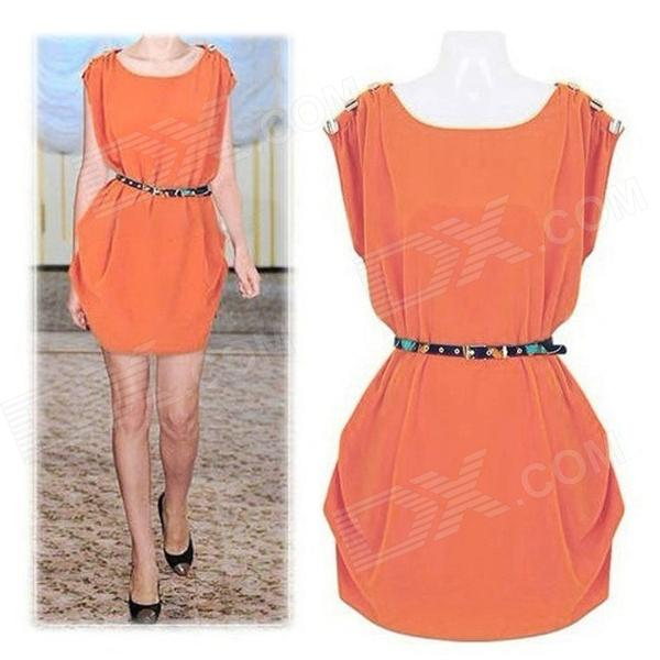 Dames / Dames Modieuze losse chiffon jurk w / Belt - Orange (XL)