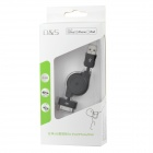 MFi D&S DSM1103 USB Male to Apple 30-pin Male Retractable Cable for iPhone/iPad/iPod - Black (80 cm)