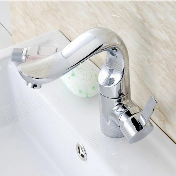 Elegant Brass Chrome Single Handle Rotatable Bathroom Sink FaucetBath Faucets<br>Form  ColorSilverModelYDL-F-0561MaterialBrassQuantity1 DX.PCM.Model.AttributeModel.UnitFinishChromeFaucet Spout MaterialBrassFaucet Body MaterialBrassFaucet Handle MaterialBrassStyleContemporaryOther FeaturesInstallation Type: Vertical.<br>Installation Holes: One Hole.<br>Number of Switches: Single Handle. <br>Valve Type: Ceramic.<br>Standard 1/2 Threads.<br>Spout Height: 15.5cm.<br>Handle Length: 10.5cm.Packing List1 x Faucet 2 x Stainless steel tubes (50cm) 2 x O-ring 1 x Mounting nut<br>