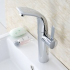 Solid-Heightening-360c2b0-Rotatable-Brass-Bathroom-Sink-Faucet-Silver