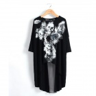 Women's Fashionable Skull Pattern Dovetail Style Cotton T-Shirt - Black + White (Size M)