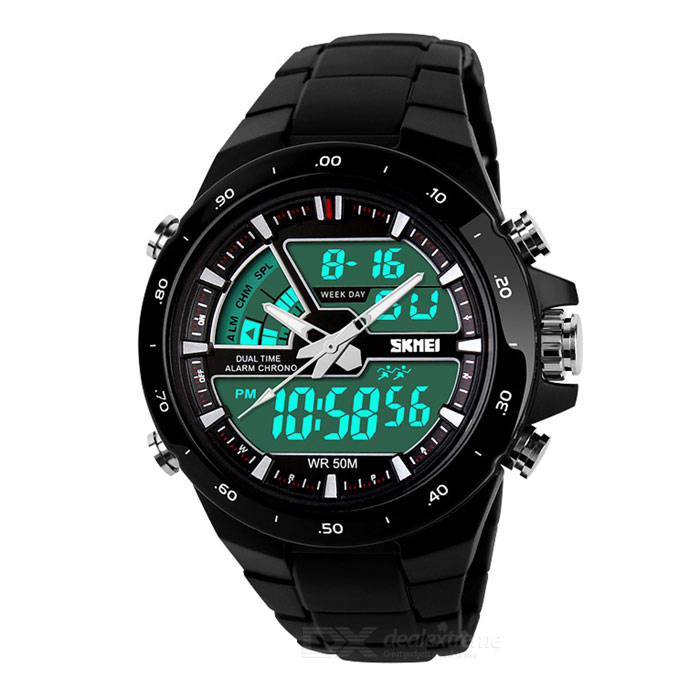 SKMEI 1016 Men's Waterproof Analog + Digital Sports Watch - Black for sale for the best price on Gipsybee.com.