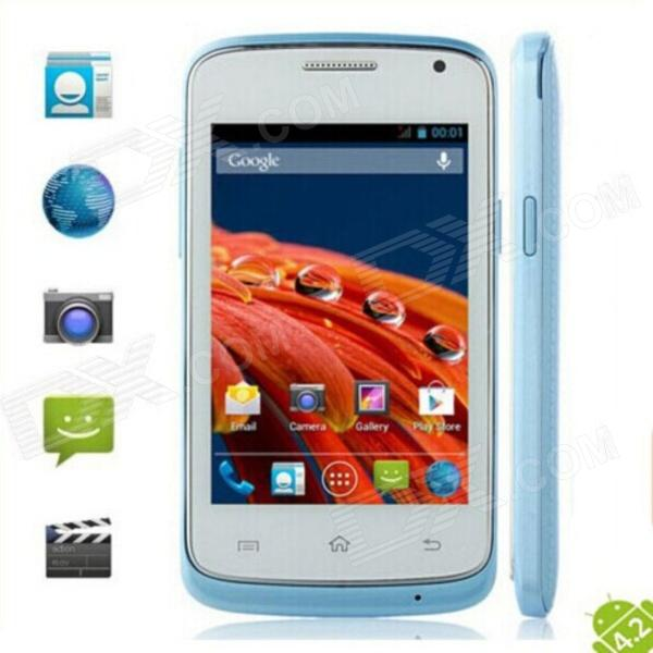 G7106i MTK6572 Dual Core Android 4.2 GSM Bar Phone w/ 3.5'', GPS, Wi-Fi, FM - Blue + White