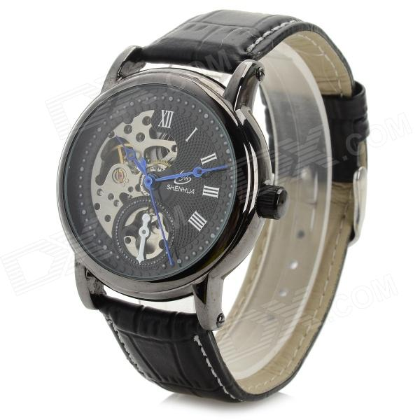 Shenhua 2698 Men's Stylish Analog Mechanical Wristwatch w/ PU Leather Band - Black (1000PCS)