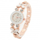 3394 Women's Four-leaf Style Zinc Alloy Band Analog Quartz Wristwatch w/ Rhinestone - White (1x377)