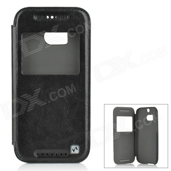 HOCO HT-L014 Protective PU + PC Case Cover w/ Auto Sleep + Window for HTC One M8 - Black