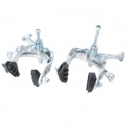 Front + Rear Brake + Brake Levers Set for Fixed Gear - Sort + Silver