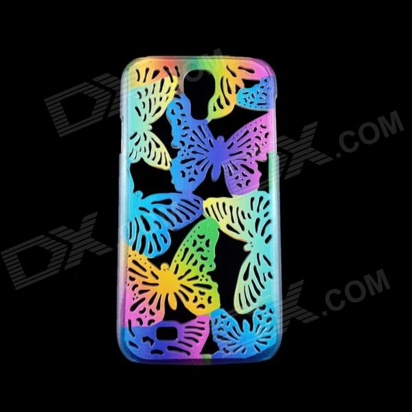 Butterfly Pattern Protective Plastic Back Case for Samsung Galaxy S4 i9500 - Blue + Yellow