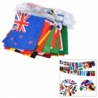 100 Internationale Kleine Polyester Pongee Flags String-Rood + Groen + Multi-Colored