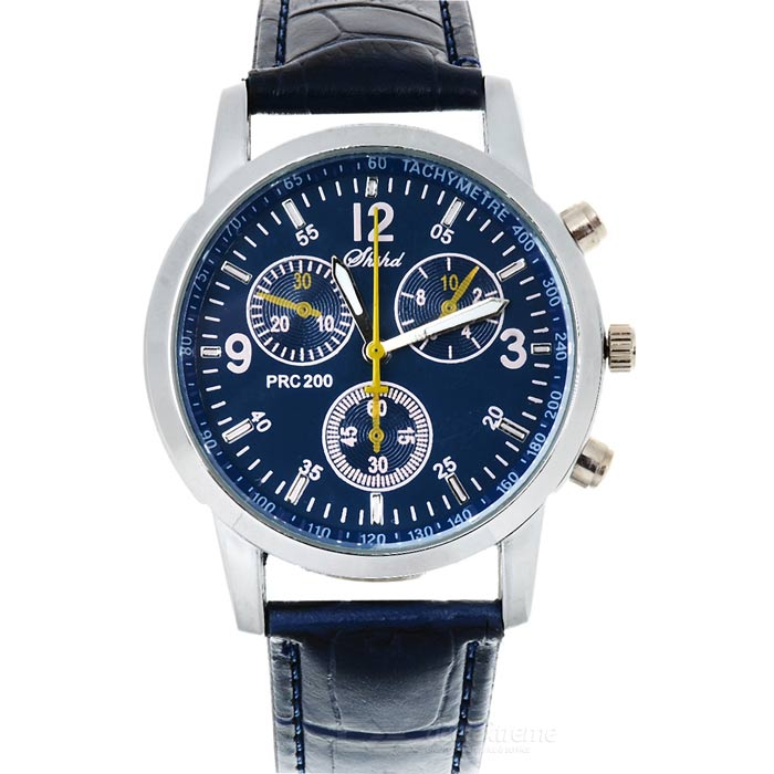 Buy Round Dial PU Band Quartz Analog Wrist Watch - Blue + Silver (1*626) with Litecoins with Free Shipping on Gipsybee.com