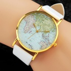 Men's World Map Pattern Quartz Analog Wrist Watch - White + Golden