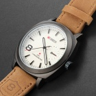 CURREN 2091 Men's Round Dial PU Band Quartz Analog Wrist Watch - Brown + White
