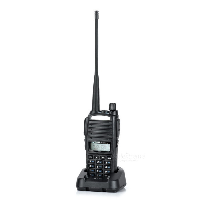 Baofeng BF-UV82 5W 1.5128-CH Walkie Talkie Set w/ Voice EncryptionWalkie Talkies<br>Form  ColorBlackBrandBaofengModelBF-UV82Quantity1 DX.PCM.Model.AttributeModel.UnitMaterialPVCFrequency Range400~520 MHz / 136~174MHzChannel128Frequency Stability±2.5 DX.PCM.Model.AttributeModel.UnitOutput Power5 DX.PCM.Model.AttributeModel.UnitWorking Voltage   7.4 DX.PCM.Model.AttributeModel.UnitWorking Distance15kmEncryptionCTCSS,DCSBattery Capacity1800 (Actual capacity) DX.PCM.Model.AttributeModel.UnitStandby Time96 DX.PCM.Model.AttributeModel.UnitWorking Time24 DX.PCM.Model.AttributeModel.UnitOther FeaturesUV dual band; With flashlight; 1.5 screen display; Radio frequency range: 65~108MHz.Packing List1 x Walkie talkie1 x Strap (21cm)1 x Charging station (10V)1 x Charger (US plug / 100~240V / cable length:108cm)1 x Battery1 x Antenna1 x Chinese user manual1 x English user manual<br>