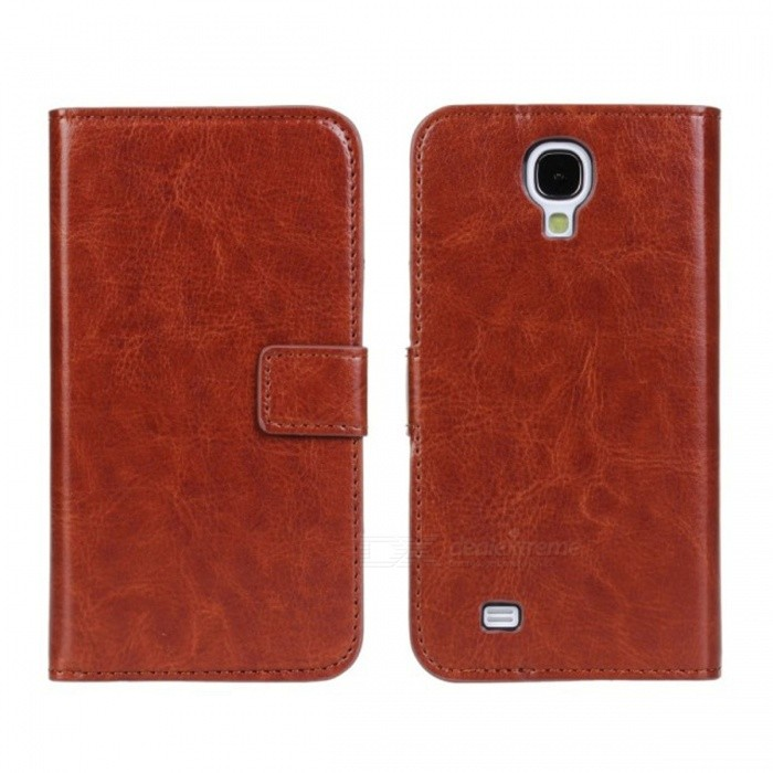 Stylish Flip Open PU Leather case w/ Card Slot for Samsung Galaxy S4 / i9500 - Brown