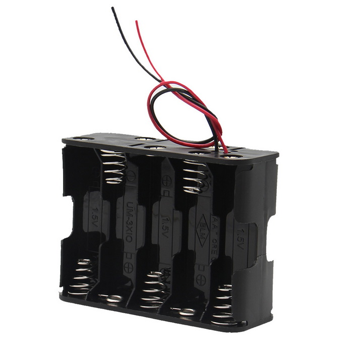 DIY 15V 10-Slot AA Battery Double Deck Holder Case / Box w/Leads-Black
