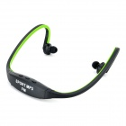 Wireless sportivo dietro la nuca cuffie MP3 w / TF / FM / USB - nero + verde