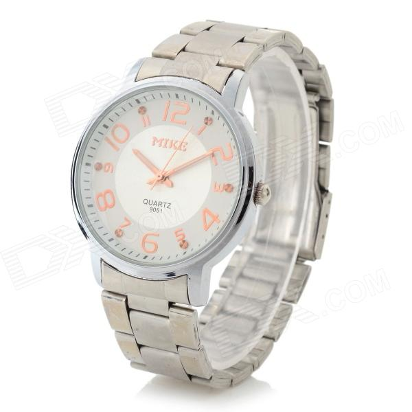 Men's Luxurious Stainless Steel Band Analog Quartz Wristwatch - White + Silver (1 x LR626)