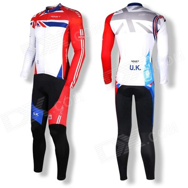 Spakct S14C07 / S14T07 Cycling Polyester + Nylon + Spandex Jersey + Pants for Men - White + Red (XL)