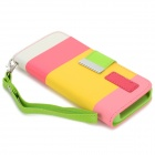 Rainbow Pattern Protective Flip-Open PU Leather Case w/ Stand for IPHONE 5 / 5S - White + Yellow